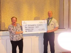 Richard Bond our Group Chair being presented with the cheque.