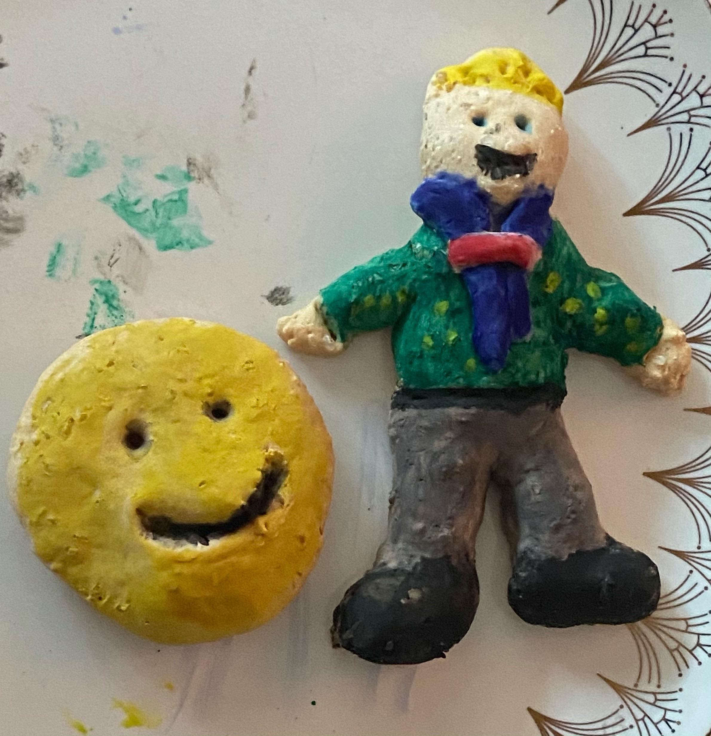 Salt dough of a cub and smiley face