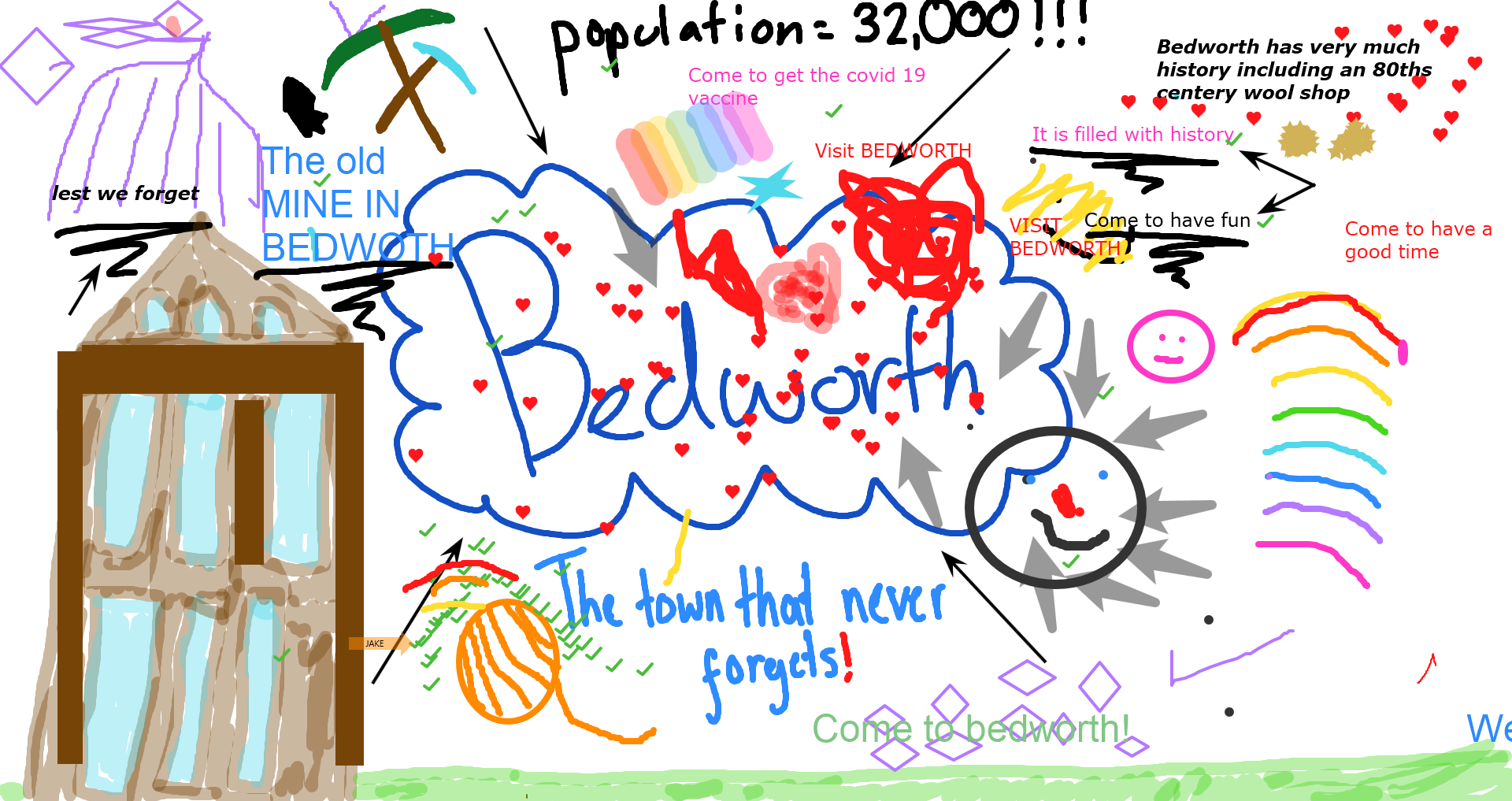 Poster advertising Bedworth with landmarks, old culture and facts
